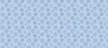 blue background with doodle viruses sketch drawing. vector illustration