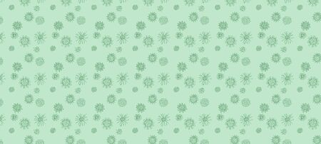 green background image. doodle viruses drawing. vector stock illustration