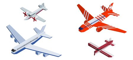 different isometric planes big and small. vector stock illustration
