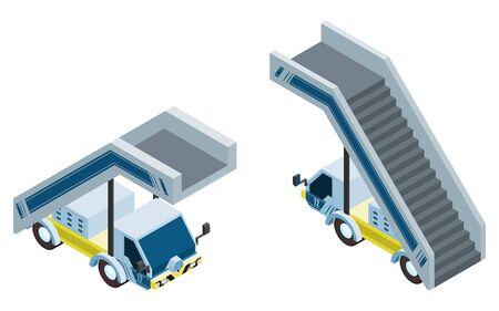 passenger transportation. gangway aircraft machine. vector illustration