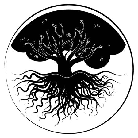 drawing tree black  in a circle. vector stock image Illustration