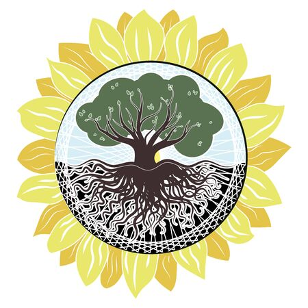 oak tree and sunflower drawing bright. vector stock image