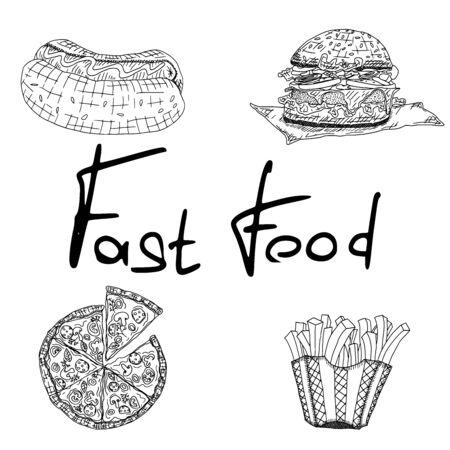 fast food diner sketch drawings. vector stock illustration Ilustração