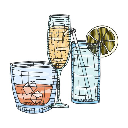 sketch alcoholic drinks in color. doodle stock illustration 向量圖像