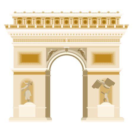 triumphal arch in paris gate monument. flat style stock illustration