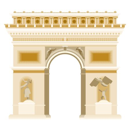 triumphal arch in paris gate monument. flat style stock illustration