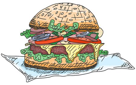 burger with meat and sausage sketch drawing. doodle stock illustration