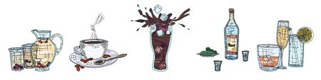 alcoholic and fruit drinks with a cup of coffee. doodle sketch vector stock
