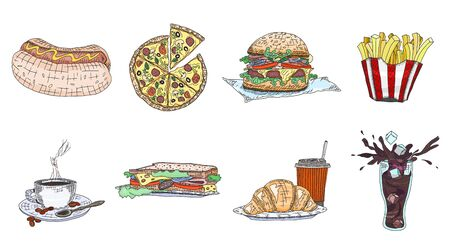 fast food takeaway food collection colorful. doodle sketch illustration vector