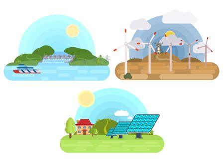 types of clean electricity from the sun, water and wind. multicolored flat style Vectores
