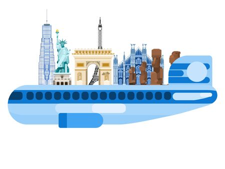 airplane and world attractions tourism europe and america. multicolored flat style 일러스트