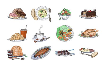 culinary masterpieces on a plate from the chef. doodle sketch illustration vector
