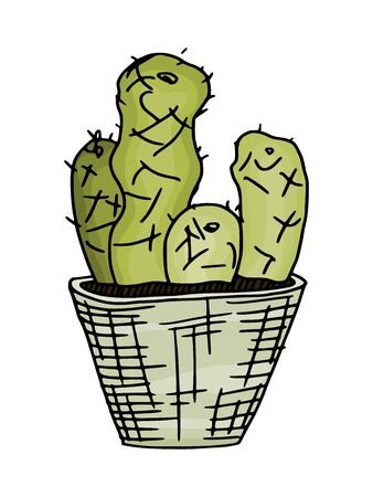 light green cactus in a simple pot. doodle sketch drawing vector 向量圖像