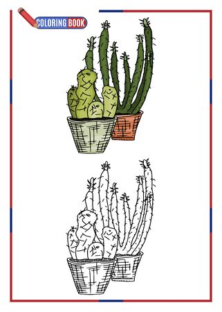 printable coloring book for children. long cacti in pots