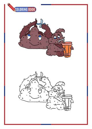 printable coloring book for children. monsters with scissors and juice