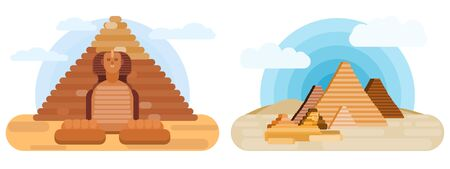 sphinx and pyramids two illustrations. vector flat style