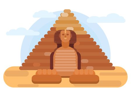 majestic sphinx egypt giza. stone pyramid sculpture. vector flat