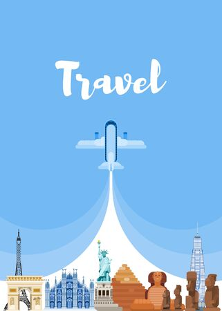travel around the world. visit famous sights. vector flat style