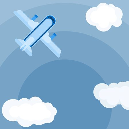 plane in the sky. simple flat style color vector image stock