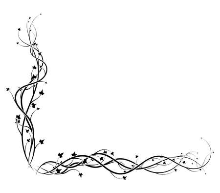 black ivy corner frame on white background vine. vector illustration stock 向量圖像