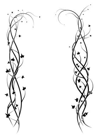 ornament frame from ivy plants on white. vector illustration stock