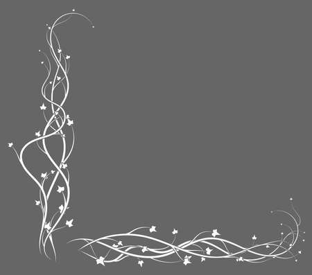 gray background with white ivy weaving plant. vector illustration stock