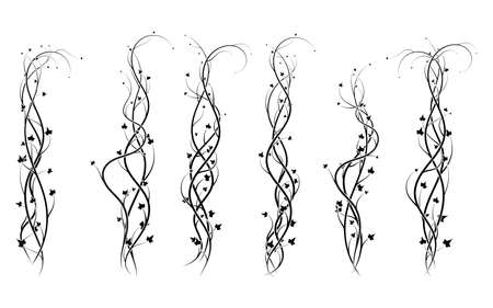 weaving curls plants ivy decoration ornament new version vector 向量圖像