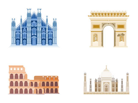 architecture palaces buildings compilation worldwide. flat style vector 向量圖像