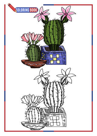 children's coloring. cacti with large flowers. doodle style new version vector 向量圖像