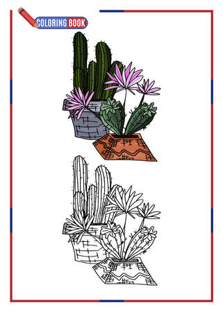 children's coloring. home cacti in pots. doodle style new version vector