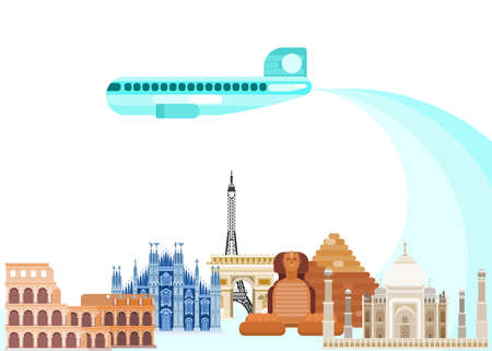 air travel travel from Asia to Europe. flat style vector new version america