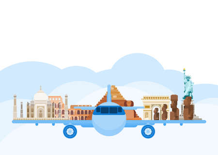 travel around the world by plane. flat style vector new version