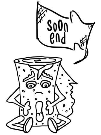scared monster toilet paper. doodle style new version vector