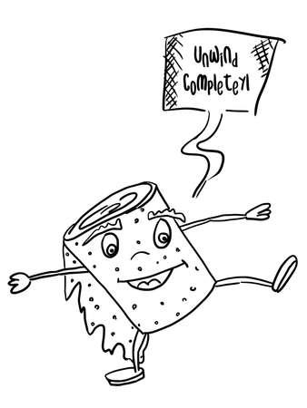 sketch toilet paper monster dancing. doodle style vector 向量圖像