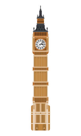 clock tower big ben london. flat on white background 向量圖像