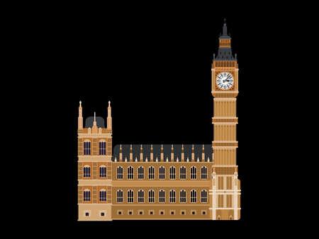 big ben clock building london. flat on black background 向量圖像