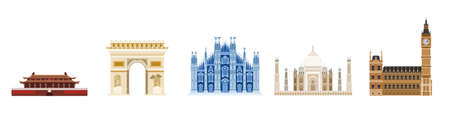a large selection of old houses in Europe and Asia. flat on white background