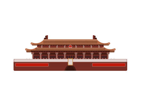 chinese palace red building. flat on white background