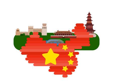 map china emperor's palace. flat on white background