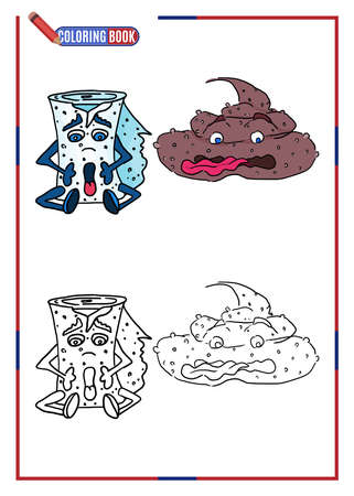 children's coloring template. scared toilet roll. doodle drawing vector