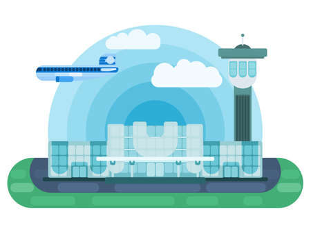 international airport illustration vector in flat style vector