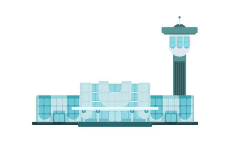 international air airport flat bright style vector drawing 向量圖像