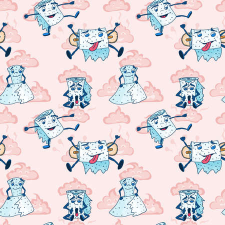 monsters from the toilet on a pink background. doodle drawing vector seamless pattern