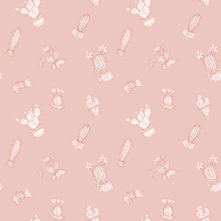 light orange background with cacti doodle vector seamless pattern 向量圖像