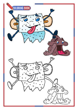 children's coloring template. toilet paper hanging over shit. doodle drawing vector