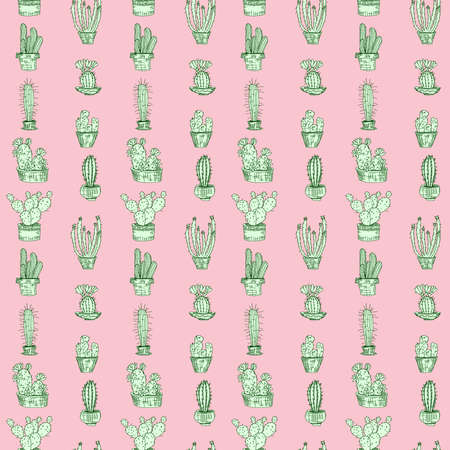 light green cacti on pink. doodle drawing vector seamless pattern