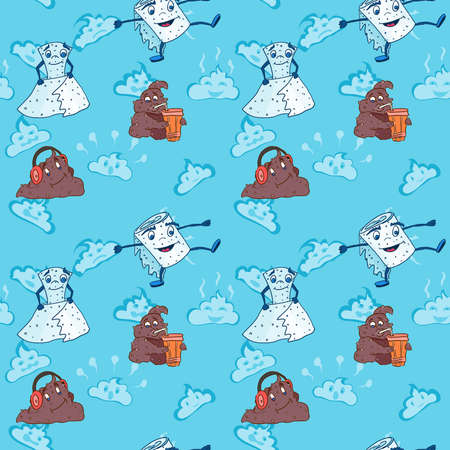 toilet paper and poop monsters. doodle drawing vector seamless pattern