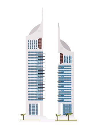 twin towers dubai. flat style vector illustration stock