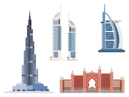 A selection of famous buildings from Dubai. flat style vector 向量圖像