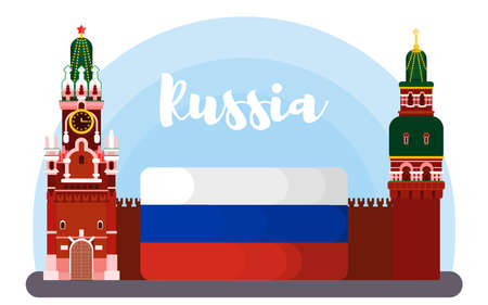 russia red square. bright flat style illustration vector stock 向量圖像